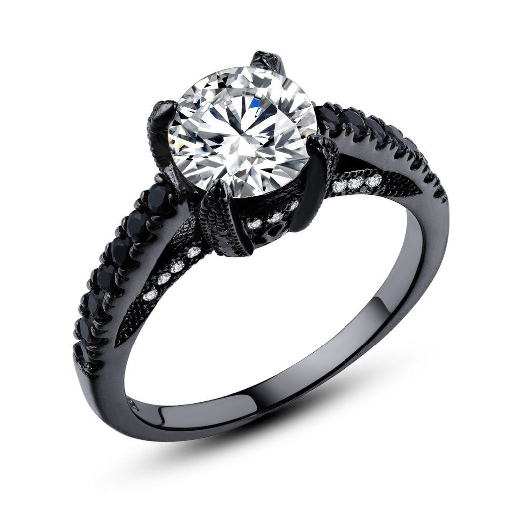 Fine Ring - Guinevere Black Gold Plated Ring With Sleek Classy Design And Clear Crystal