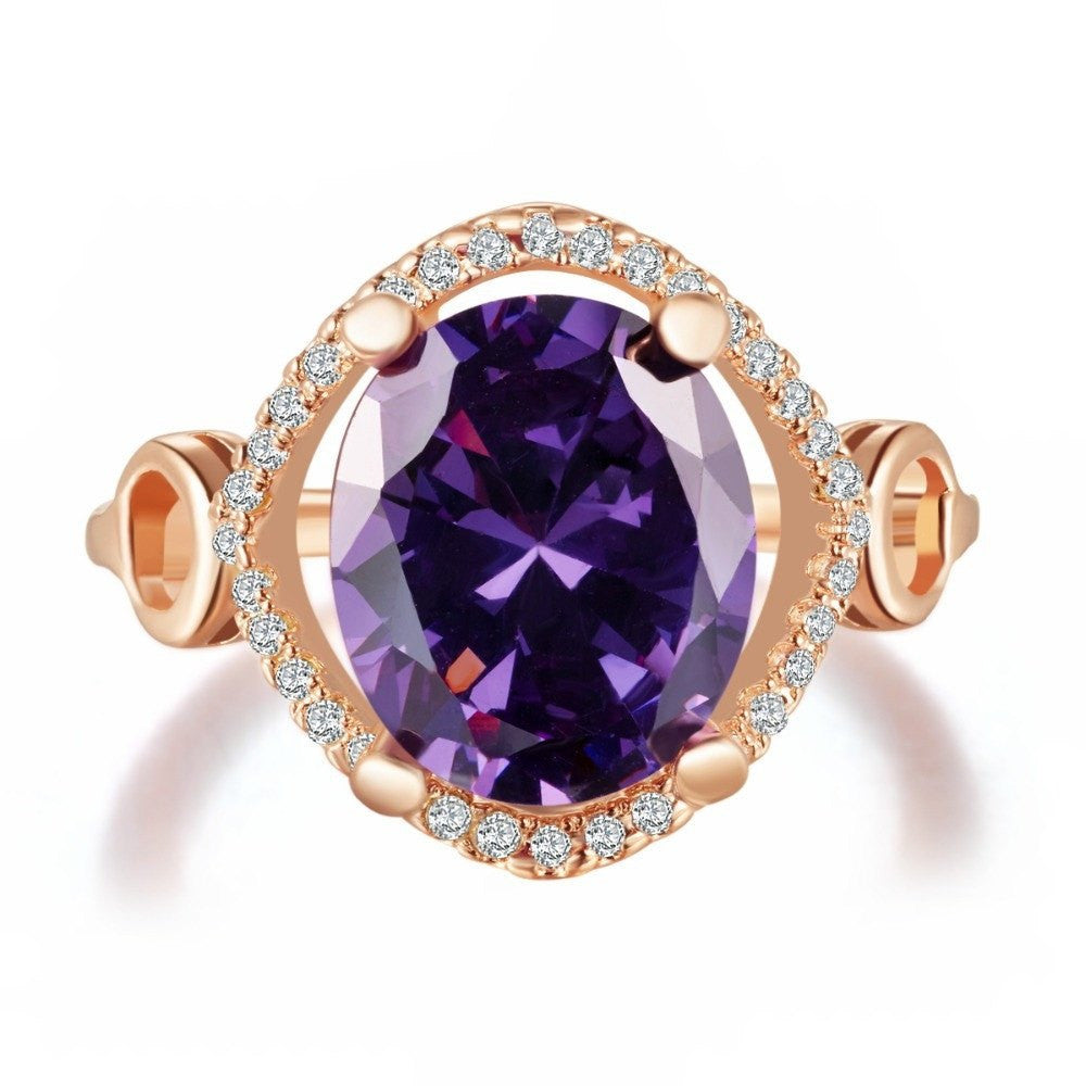 Fine Ring - Isolde Rose Gold Plated Ring With Round Big Purple Stone