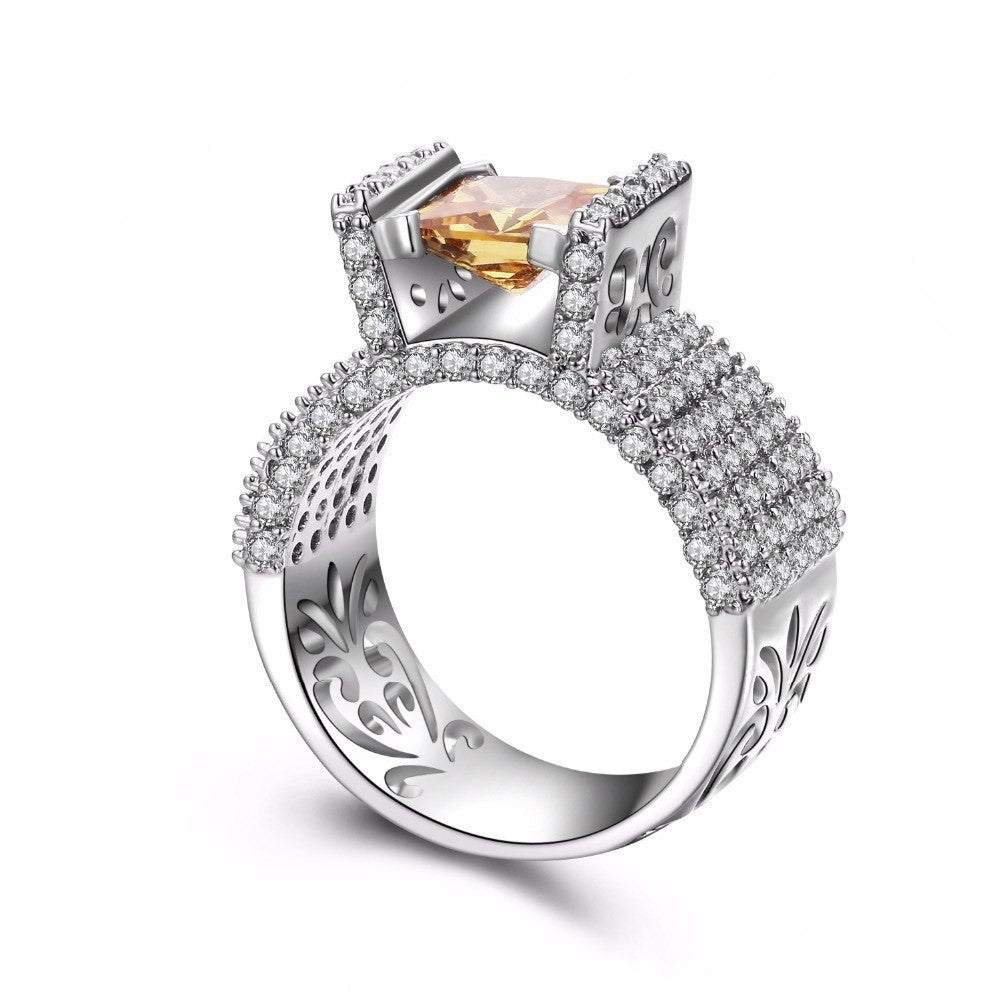 Fine Ring - Janine White Gold Plated Ring With Elevated Amber Crystal In Geometric Design