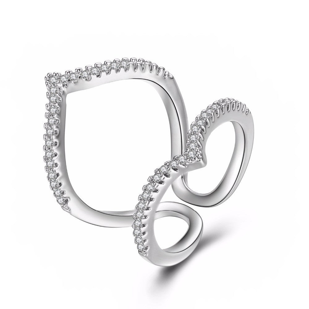 Fine Ring - Kimberly White Gold Plated Ring In Elegant Modern Style With Paved Clear Crystals