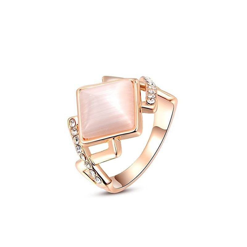 Fine Ring - Maddison Rose Gold Plated Rhombus Opal Ring