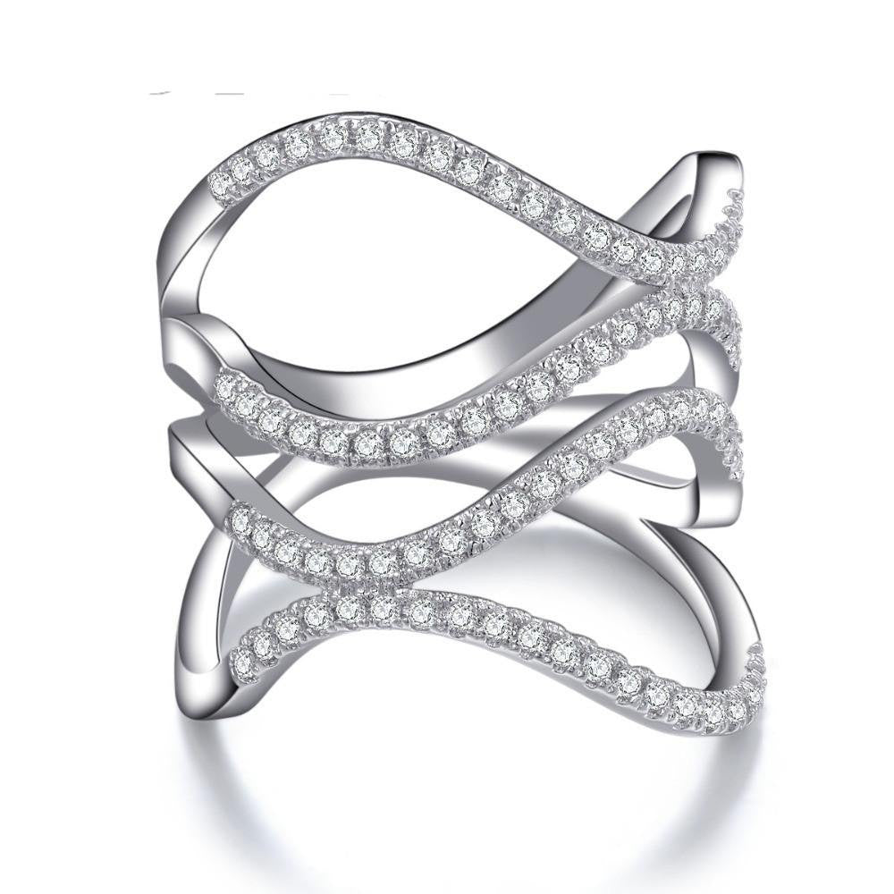 Fine Ring - Sammy White Gold Plated Ring In Curvy Geometric Design Paved Micro Crystals