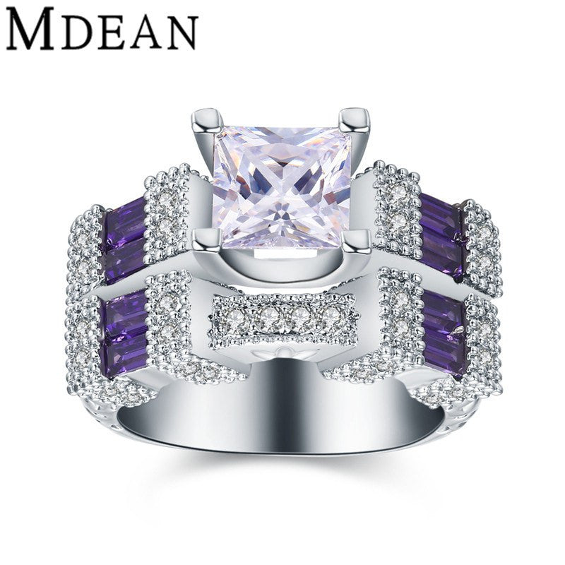 Fine Ring - Verity White Gold Plated Ring With Purple Amethyst Stones In Geometric Design