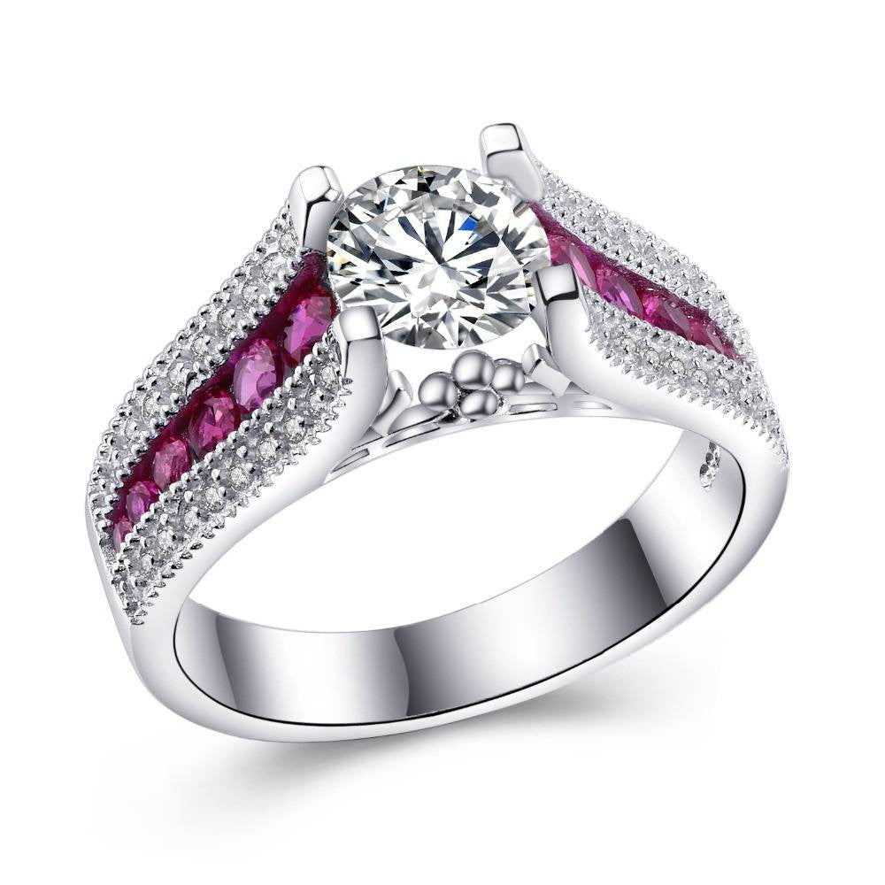 Fine Ring - Yulissa White Gold Plated Ring With Hot Pink Paved CZ