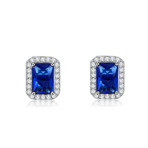 Fine Stud Earrings - Addison White Gold Plated Square Stud Earrings With Blue Crystal