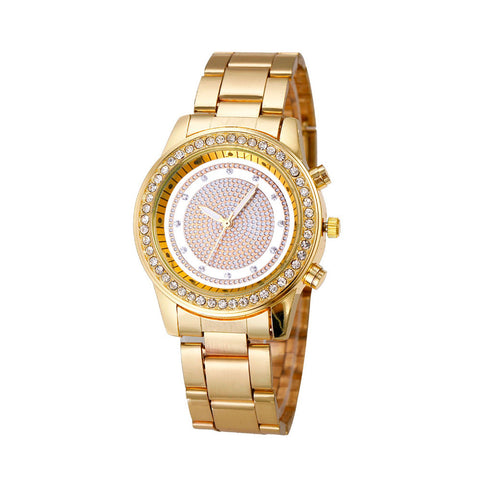 Aurea Elegant Crystal-Studded Gold-Plated Dress Watch
