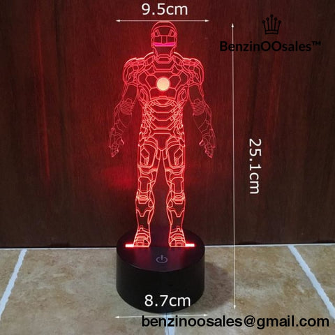 Action figure 3D Visual LED light ironman red -yeezy boostv2-ua-hypebeast-designer replicas clothing