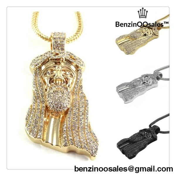 Black Plated Jesus Face Necklace Jewelry Gold Plated Figaro Chain Religion Iced Out Hip Hop Jesus Head Pendant Necklace 2016 -yeezy boostv2-ua-hypebeast-designer replicas clothing