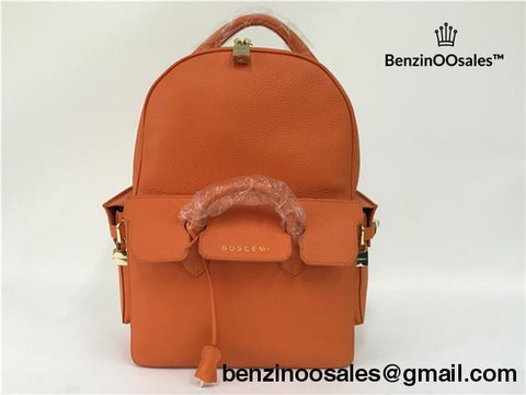 Buscemi Large Leather Backpack in Orange -yeezy boostv2-ua-hypebeast-designer replicas clothing