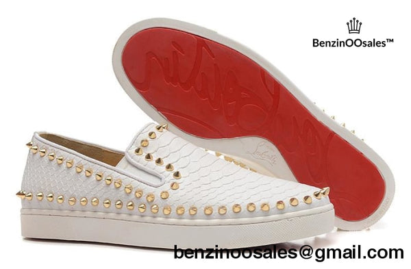 Christian Louboutin White snake skin with gold studs -yeezy boostv2-ua-hypebeast-designer replicas clothing