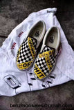 Custom low cut vanz X off white caution tape white checkered sneakers -yeezy boostv2-ua-hypebeast-designer replicas clothing