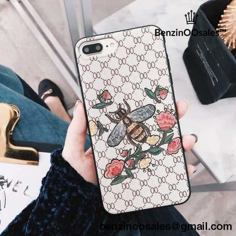 GG G brand Iphone X XR XS MAX7plus 6 6s 7 8 Plus Luxury Bee floral rose cloth fabric relief design Cases -yeezy boostv2-ua-hypebeast-designer replicas clothing