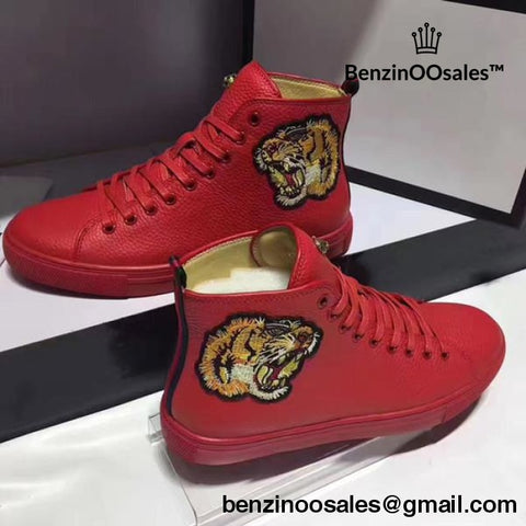 9db217c68ecc7e GG leather men high top sneaker shoe in red , white and black with lion  embroidering