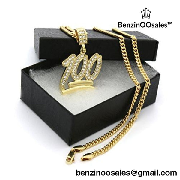 "Gold Tone Emoji 100 Cz Hip-hop Pendant with 3mm 30"" Inch Cuban Chain -yeezy boostv2-ua-hypebeast-designer replicas clothing"