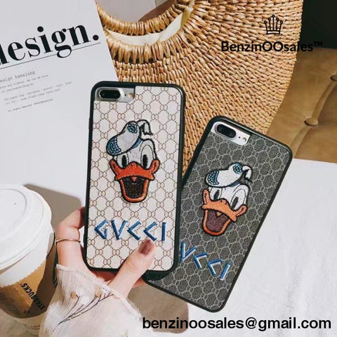Gucci duck iPhone 7 8 X 6 6s Plus 7 Plus 8 Plus Embroidered Case Cute Donald Daisy Duck Cartoon Cover -yeezy boostv2-ua-hypebeast-designer replicas clothing