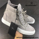 Guiseppe Zanotti Gray Frankie Leather High-Top Sneakers -yeezy boostv2-ua-hypebeast-designer replicas clothing
