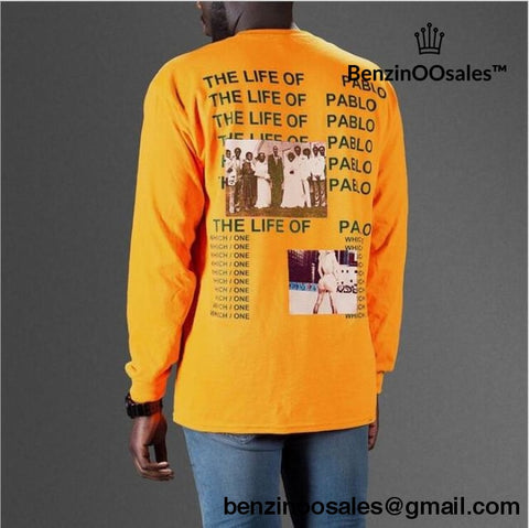 Kanye West Yeezy The life of pablo album cover tshirt -yeezy boostv2-ua-hypebeast-designer replicas clothing