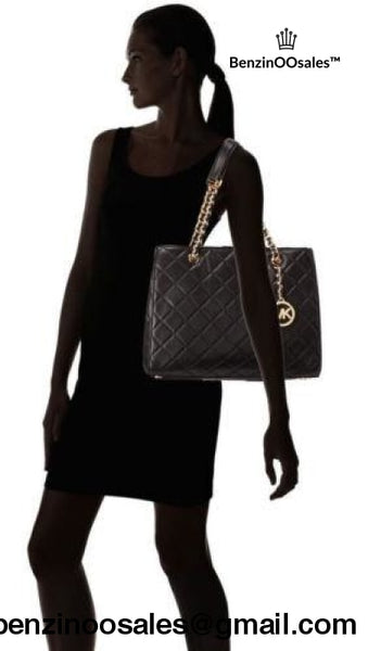 Michael Kors Quilted Leather Susannah Large Tote Purse ~Black -yeezy boostv2-ua-hypebeast-designer replicas clothing