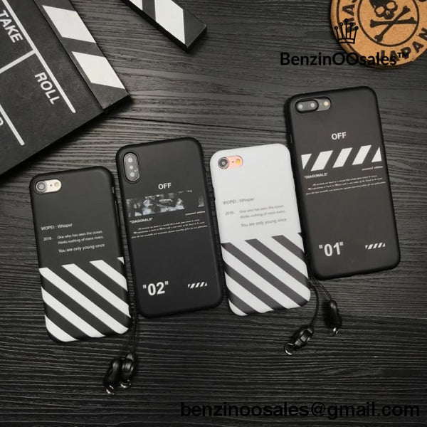 off-white virgil abloh iphone phone case with stripes for iphone 6 S 7 –  BenzinOOsales ee4332df1