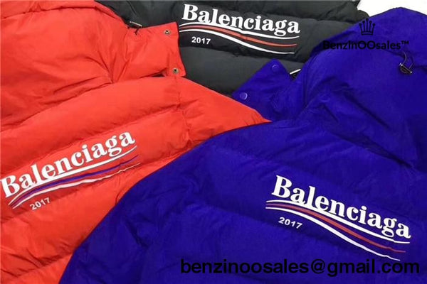 Replica Balenciaga 2017 Black Padded Hooded Windbreaker Coat (Bernie Sanders Inspiration)