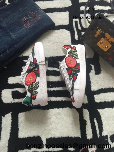 Replica Gg Brand Embroidered Rose And Leaves Sneaker Shoe