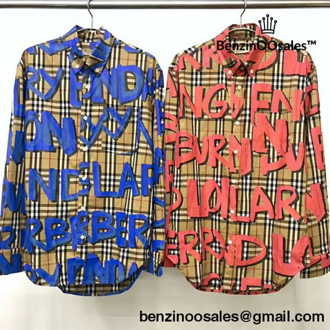 Replica Ua High Quality Burberry Of London Graffiti Long-Sleeve Shirt In Blue And Red (Blac Yungsta