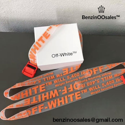 Replica Ua Off-White Tape Belts (See Through Orand And Red)