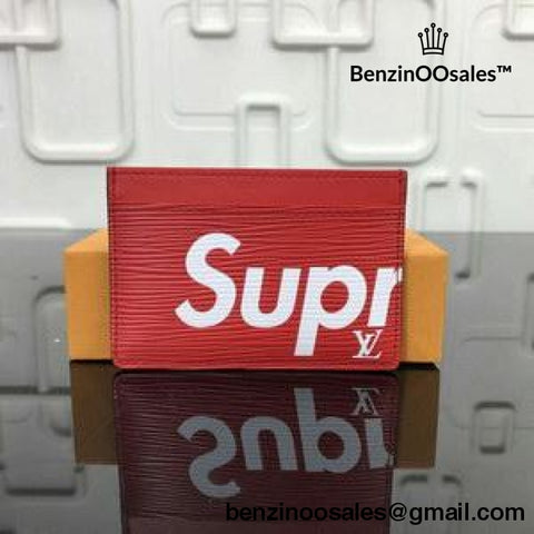 Replica Ua Supreme X Famous Brand Colaboration Red Card Holder Wallet With Box And Dustbag