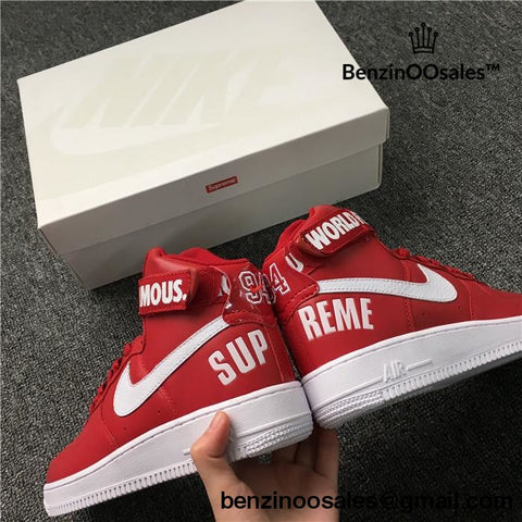 Supreme X Nike Air Force 1 High Strap Shoes Red