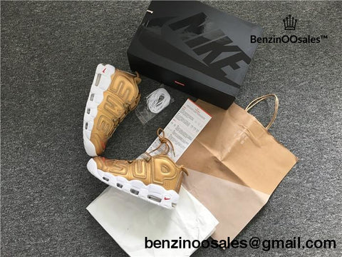 Supreme X Nike Air More Uptempo Sneakers Gold