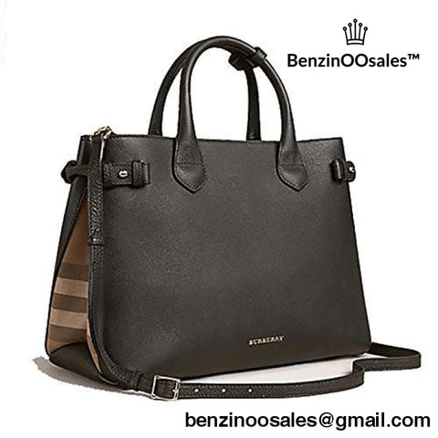 Tote Handbag Burberry In Leather And House Check Black Bling