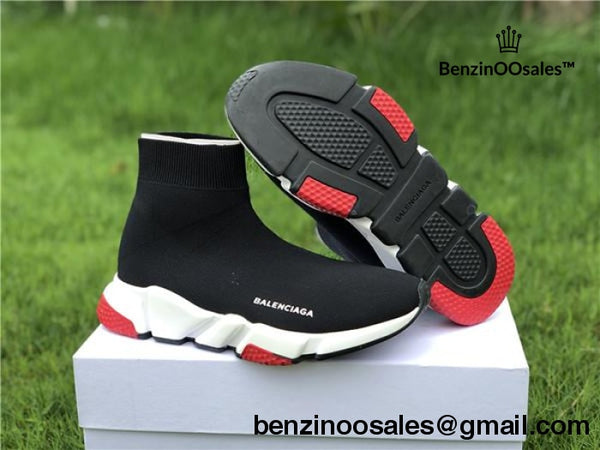 Tri-Color Balenciaga Black Speed Trainer With White Tri Color Sole