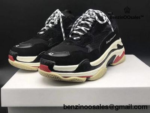 Ua Replica Black Body And White & Red Sole Balenciaga Triple S Replica Trainer Sneaker Shoe
