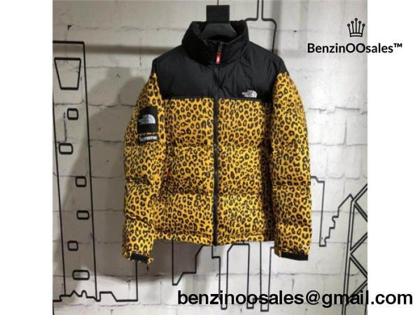 Ua Replica Supreme X North Face Nuptse Leopard Green yellow silver Coat 74a252da0