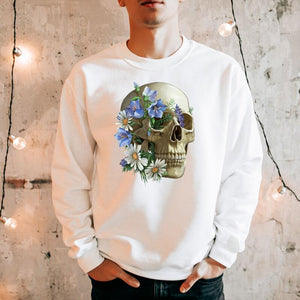 floral skull anatomy sweatshirt for doctors by codex anatomicus