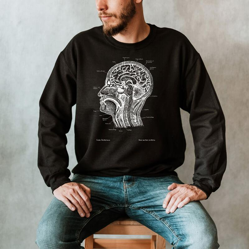 brain and head anatomy chalkboard sweatshirt for men by codex anatomicus
