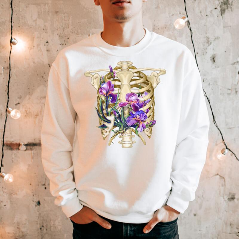 floral rib cage anatomy sweatshirt for men by codex anatomicus