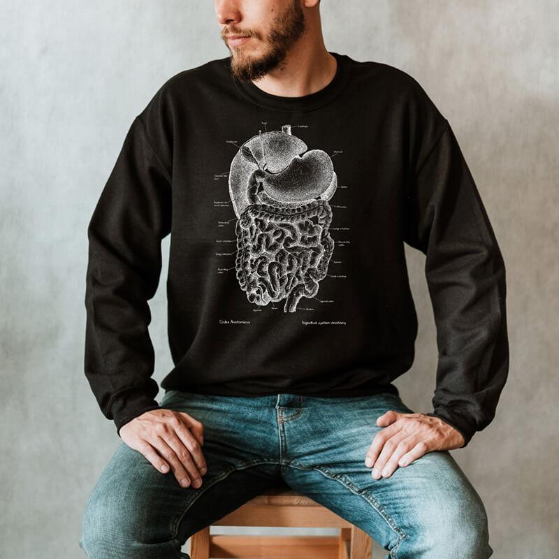 digestive system anatomy chalkboard sweatshirt for men by codex anatomicus