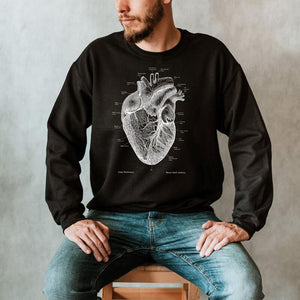 anatomical heart chalkboard sweatshirt for men by codex anatomicus