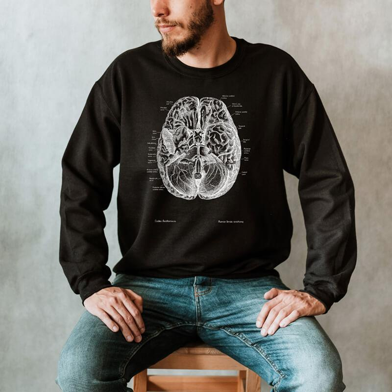 anatomical brain sweatshirt for men by codex anatomicus