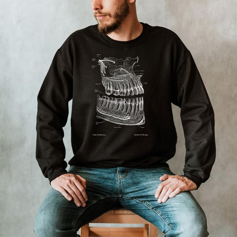 dental anatomy chalkboard sweatshirt for men by codex anatomicus
