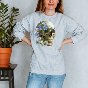 floral skull anatomy sweatshirt for women by codex anatomicus