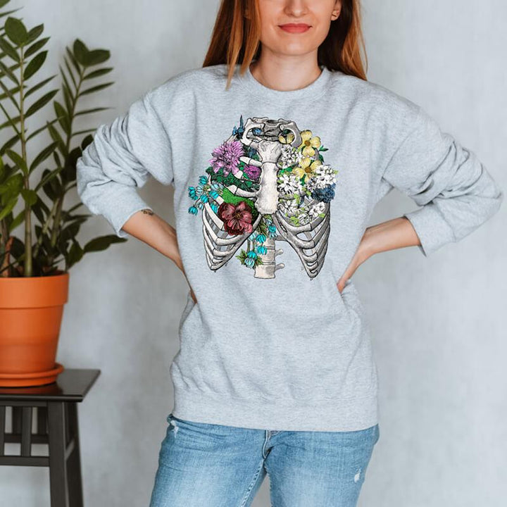 floral rib cage anatomy sweatshirt for women by codex anatomicus