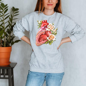floral heart anatomy sweatshirt for women by codex anatomicus