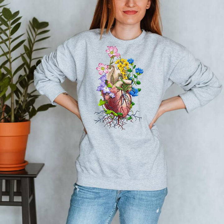 heart anatomy floral sweatshirt for doctors and medical students by codex anatomicus