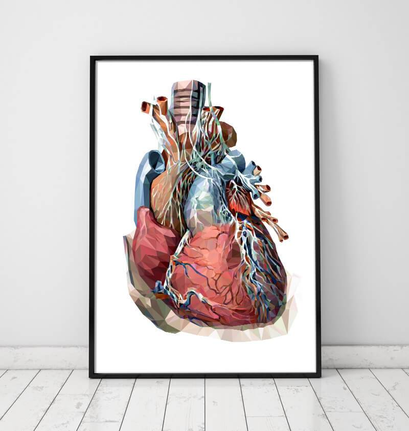 Geometrical heart anatomy poster