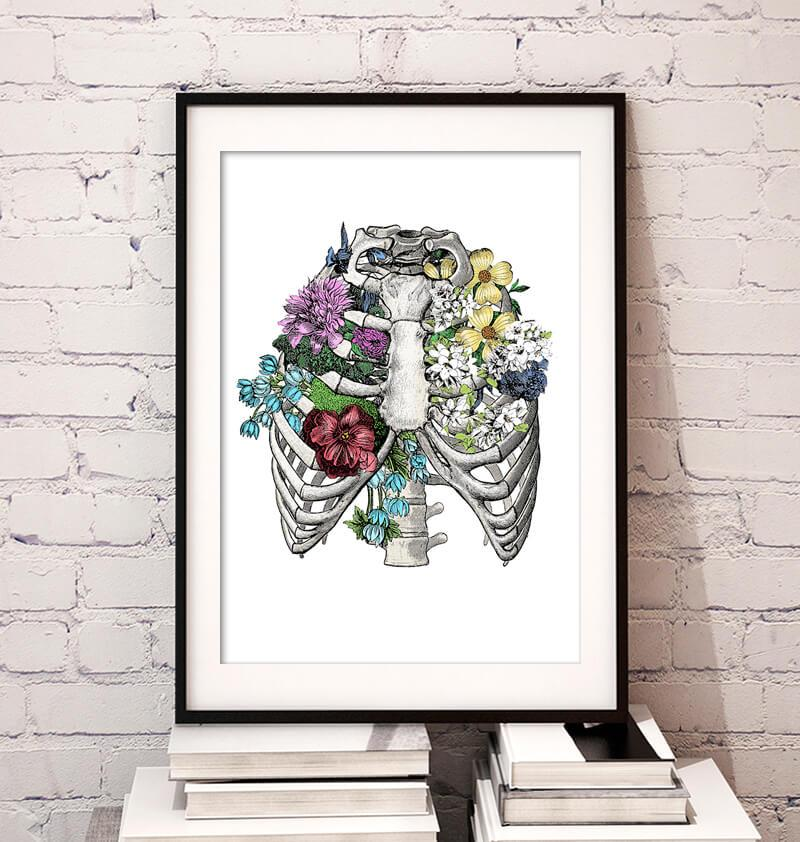 Rib cage with flowers art print