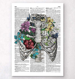 Rib cage dictionary art print