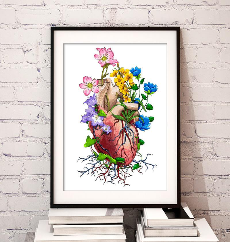 anatomy art of a floral heart