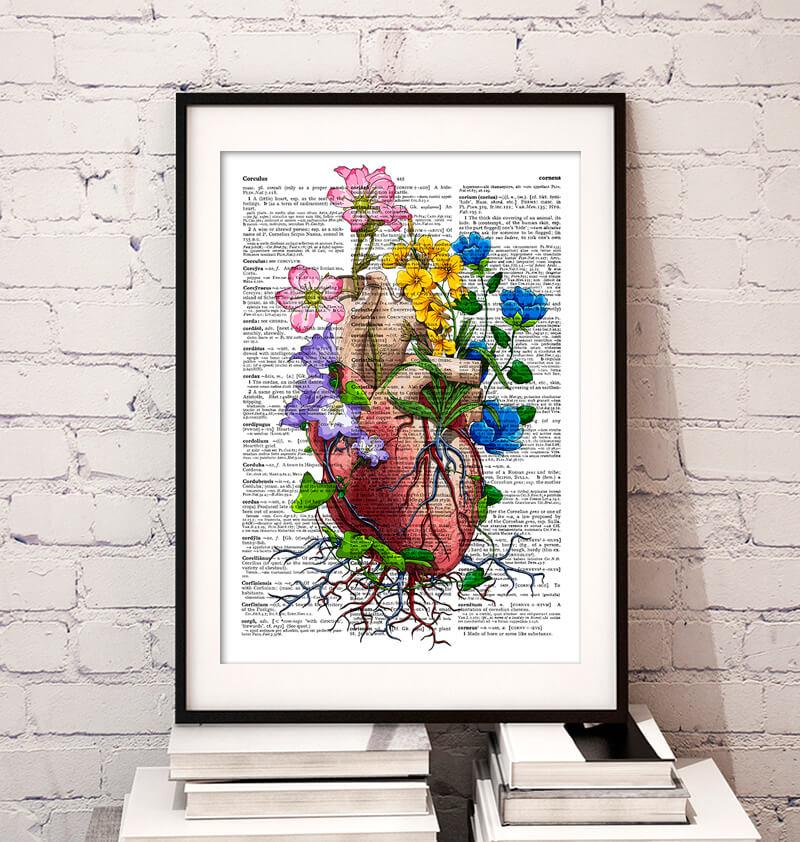 Heart dictionary art print